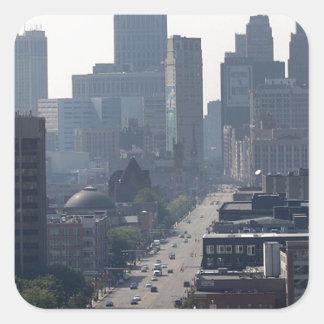 Detroit Michingan Skyline Square Sticker