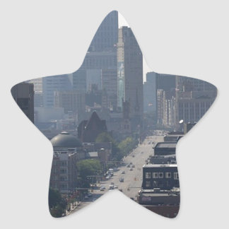 Detroit Michingan Skyline Star Sticker