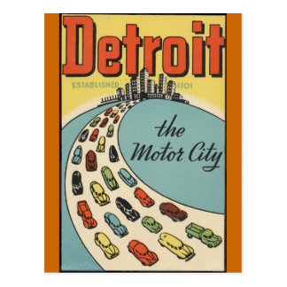 Detroit Motor City USA - Vintage Travel Postcard