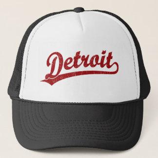 Detroit script logo in red trucker hat