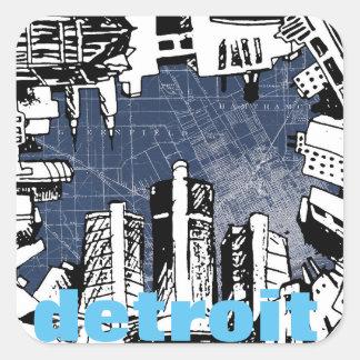 DETROIT sketch & map design square stickers