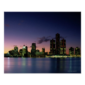 Detroit Skyline at Dusk 2 Poster