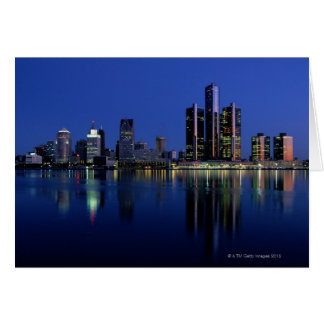 Detroit Skyline at Night Card