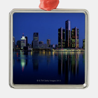 Detroit Skyline at Night Metal Ornament