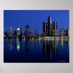 Detroit Skyline at Night Poster