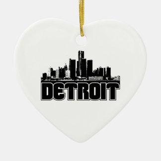 Detroit Skyline Ceramic Heart Ornament