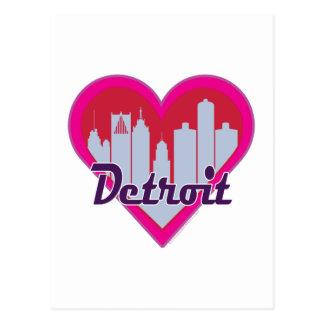 Detroit Skyline Heart Postcard