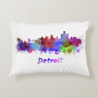 Detroit skyline in watercolor accent pillow