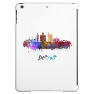 Detroit skyline in watercolor iPad air cases