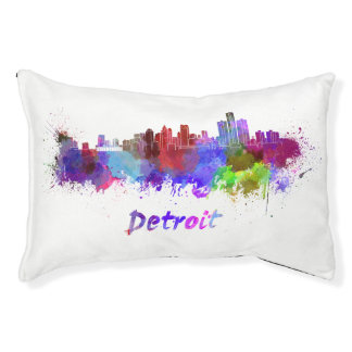 Detroit skyline in watercolor pet bed