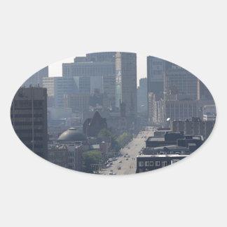 Detroit Skyline Oval Sticker