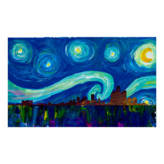 Detroit Skyline Silhouette at Starry Night Poster