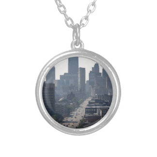 Detroit Skyline Silver Plated Necklace