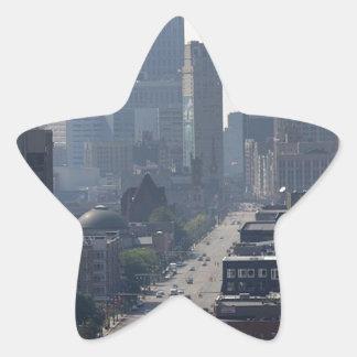 Detroit Skyline Star Sticker
