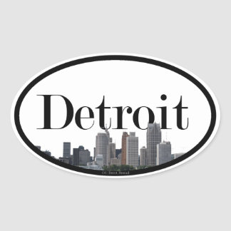 Detroit Skyline with Detroit in the Sky Oval Sticker