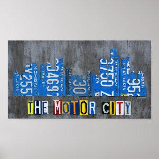 Detroit The Motor City Skyline License Plate Art Poster