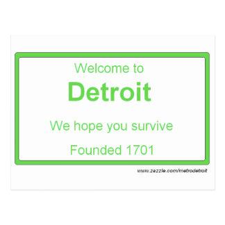 Detroit welcome Postcard