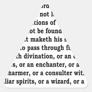 Deut. 18: 9-12 triangle sticker