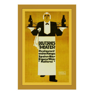 Deutches Theater Restaurant ~ Vintage Advertising Poster