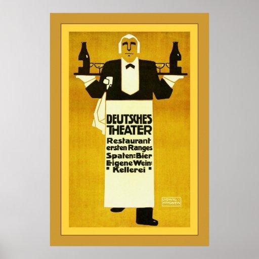 Deutches Theater Restaurant ~ Vintage Advertising Print