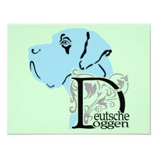 "Deutsche Doggen Kopf D Text 4.25"" X 5.5"" Invitation Card"