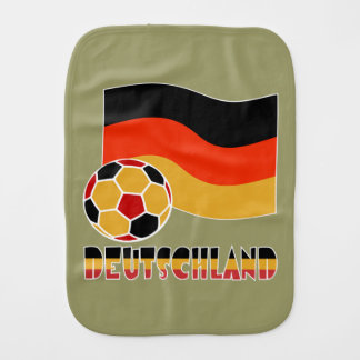Deutschland Flag and Soccer Ball Baby Burp Cloths