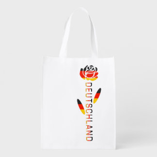 Deutschland Flag Rose Reusable Grocery Bag