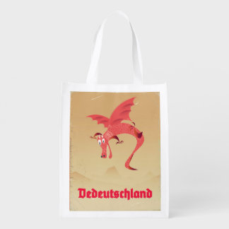 Deutschland flying dragon vintage poster reusable grocery bag