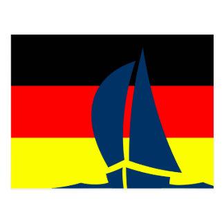 Deutschland German Flag Sailing Boat Nautical Postcard