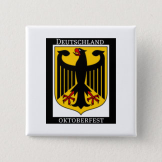 DEUTSCHLAND OKTOBERFEST GERMAN COAT OF ARMS PRINT 2 INCH SQUARE BUTTON