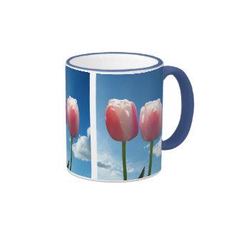 deux belles fleurs roses de tulipe en ciel bleu. tasses