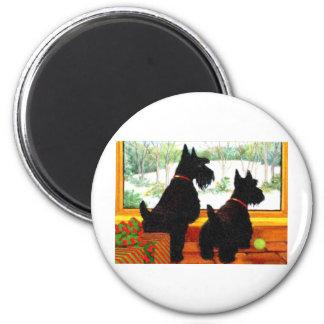Deux chiens de Scotty à Noël Magnet Rond 8 Cm