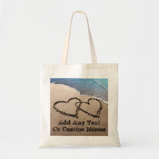 Deux coeurs dans le sac fourre-tout à sable