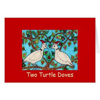 Deux colombes de tortue carte de vœux