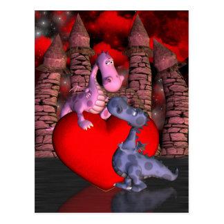 deux dragons mignons, un sur un coeur un cartes postales