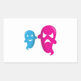 Deux fantômes stickers rectangulaires