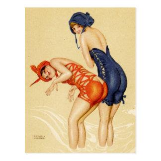 Deux femmes dans des maillots de bain - Pin de cru Cartes Postales