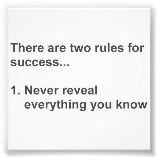 Deux règles pour le succès indiqué impressions photographiques