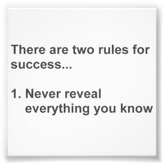 Deux règles pour le succès indiqué impression photographique