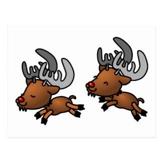 Deux rennes caribous mignons de bande dessinée carte postale