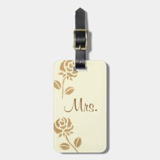 Deux roses d'or ont personnalisé Mme Luggage Tags Étiquettes Pour Bagages