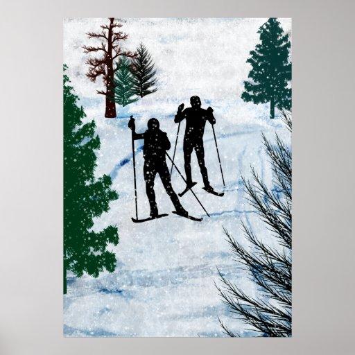 Deux skieurs de pays croisé affiche