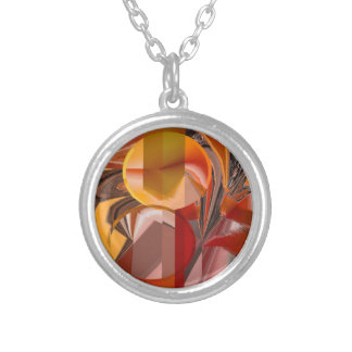 Device Red and Orange Abstract Silver Plated Necklace