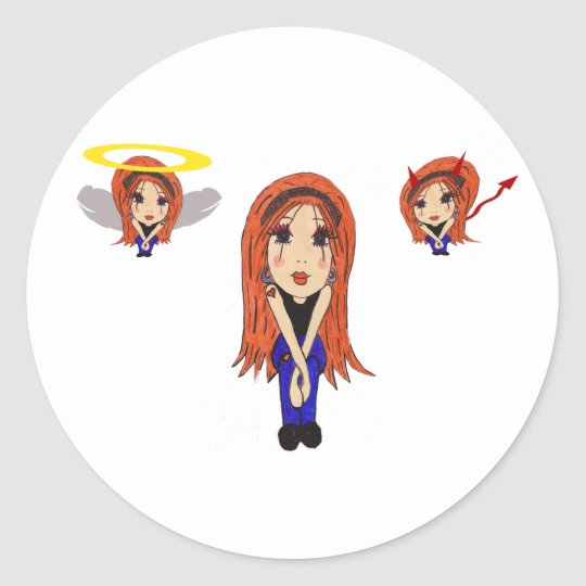 Devil and Angel Cartoon Sticker