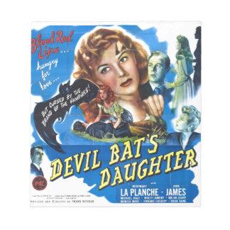 Devil Bat's Daughter, vintage horror movie poster Notepad
