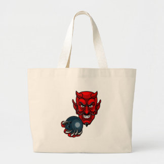 Devil Bowling Sports Mascot Large Tote Bag