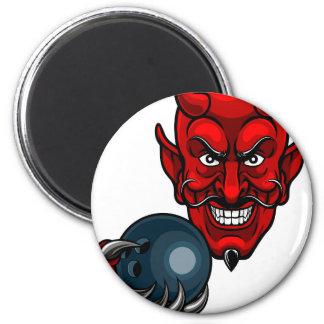 Devil Bowling Sports Mascot Magnet