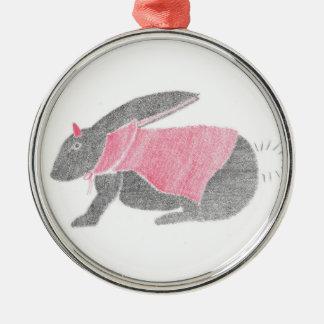 Devil Bunny Silver-Colored Round Ornament