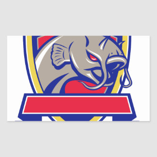 Devil Catfish Head Shield Retro Sticker