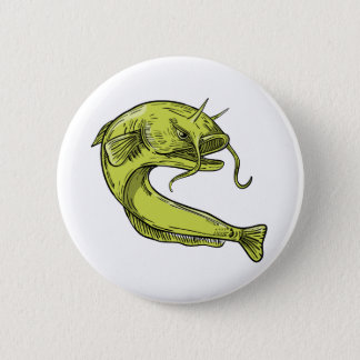 Devil Catfish Jumping Drawing 2 Inch Round Button